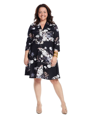 Three-Quarter Sleeve Fit And Flare In Navy Floral Print