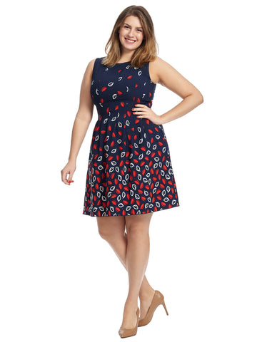 Leaf Print Seamed Fit And Flare Dress