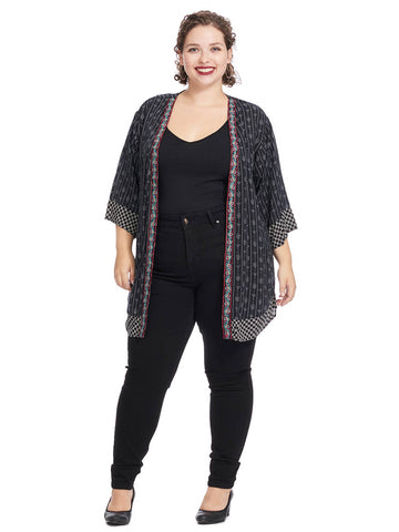 fb4992f5b Elbow-Length Cardigan In Black White Print With Border