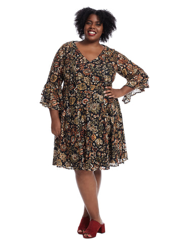 Three-Quarter Ruffle Sleeve Paisley Dress