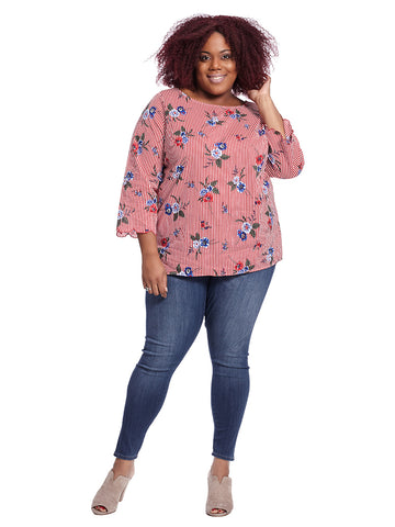 Red Floral Print Top With Three-Quarter Sleeves