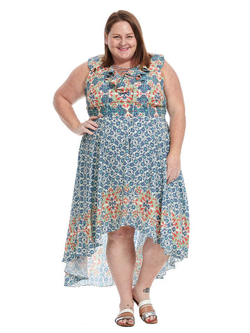 Hi-Low Dress In Mosaic Print