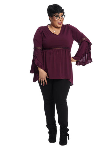 Bohemian Top In Plum