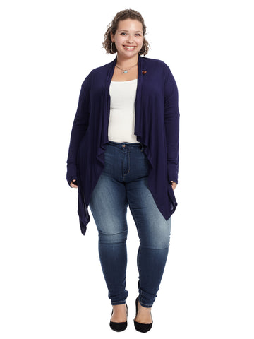 Navy One Button Wrap Cardigan