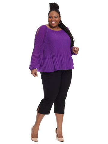 Vivid Purple Pleated Top