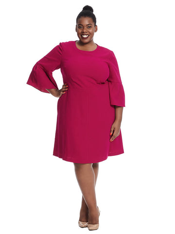 Bell Sleeve Fit & Flare Dress In Magenta