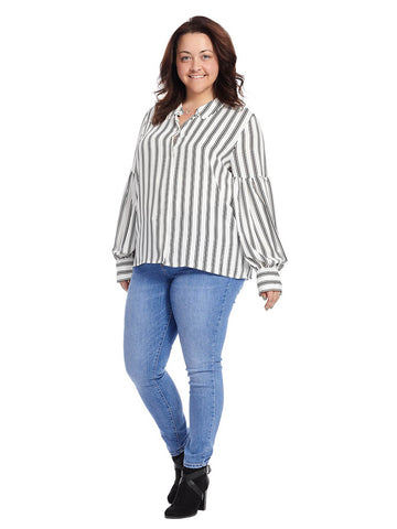 Puff Sleeves Stripe Blouse