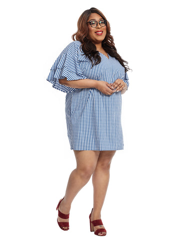 Ruffled Sleeve Marine Gingham Print Dress