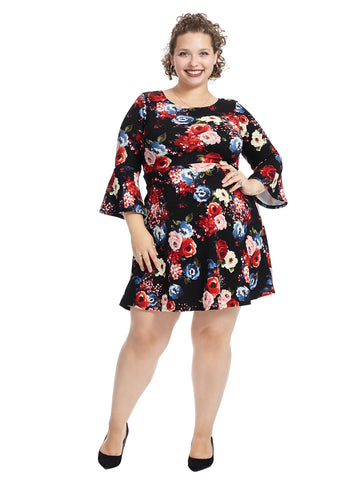 Bell Sleeve Black Floral Fit And Flare Dress