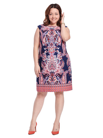 Sleeveless Printed Dress In Navy And Coral