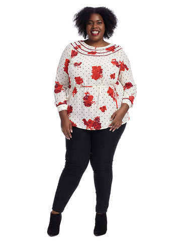 Long Sleeve Floral And Polka Dot Top