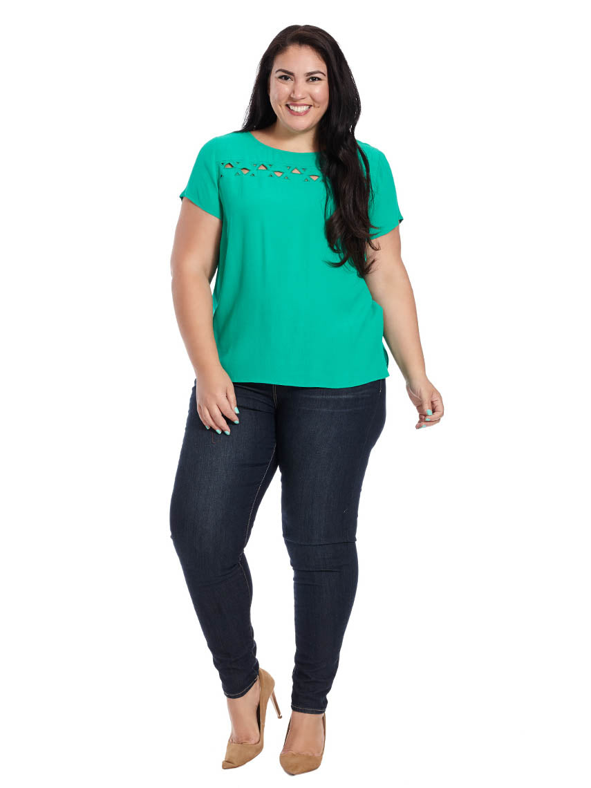 6d87b5b94355f Short Sleeve Blouse With Cut Outs In Kelly Green