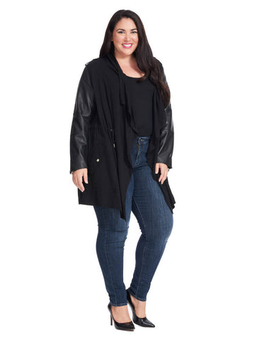 Draped Front Coat With Leather Sleeve Detail In Black