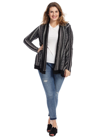 Textured Stripe Cozy Arlise Cardigan