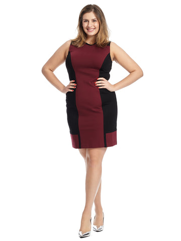 Burgundy Colorblock Off-Bowery Dress