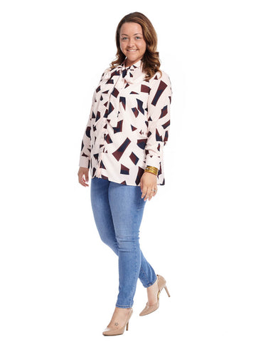 Print Bow Blouse In Abstract Print