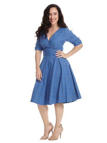 Delores Dress In Blue And White
