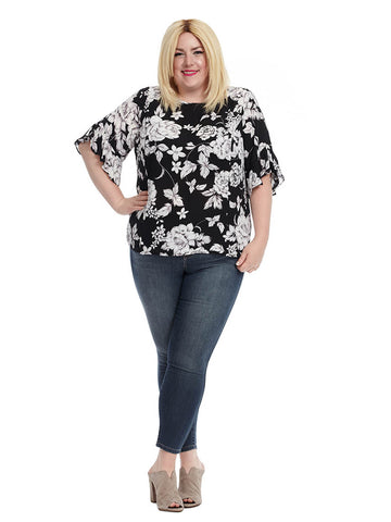Ruffle Sleeve Blouse In Black And White Floral