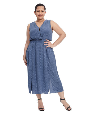 Kate Chambray Wrap Dress In Dark Blue