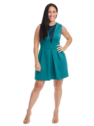 Colorblock Fit And Flare Carnegie Dress