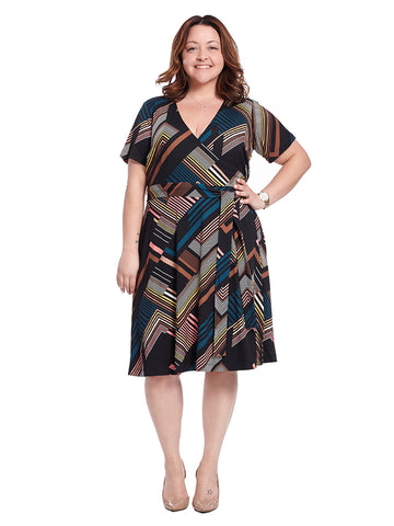 Taral Dress In Deco Stripe