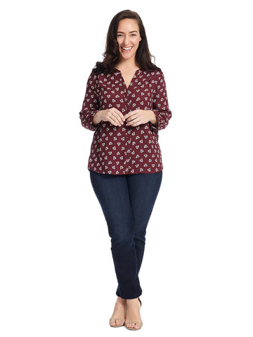 Pintuck Blouse In Deep Currant Deco Triangle