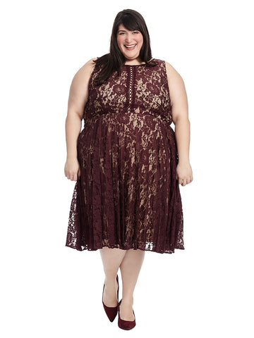 Pleated Fit And Flare Dress In Wine Lace
