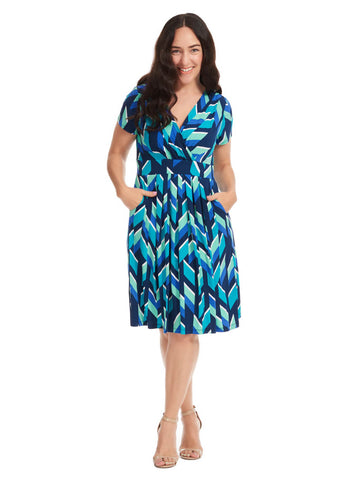 Chevron Print Fit & Flare Dress
