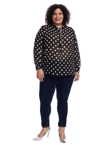 Sheer Polka Dot Henley Tunic