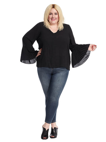 Pleated Cuff Blouse In Black