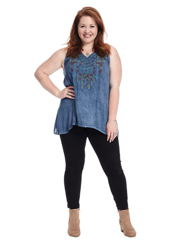 Sleeveless Floral Embroidered Denim Wash Top