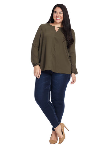 Long Sleeve Blouse With Key Hole Detail