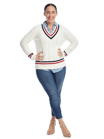Long Sleeve Navy And Red Striped White V-Neck Sweater