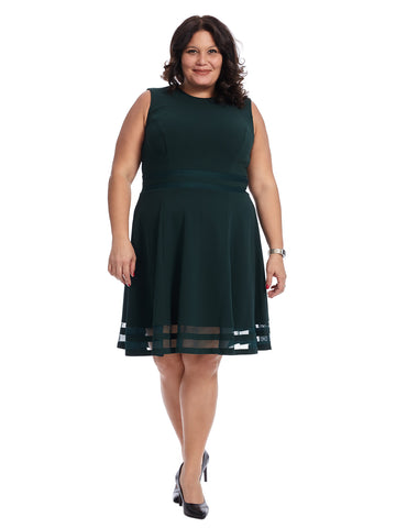 Mesh Hem Green Fit And Flare Dress