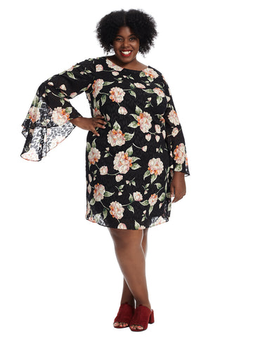 Bell Sleeve Black Floral Shift Dress
