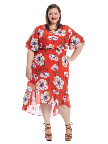 Layered Elbow Sleeve Dress In Red Floral Print
