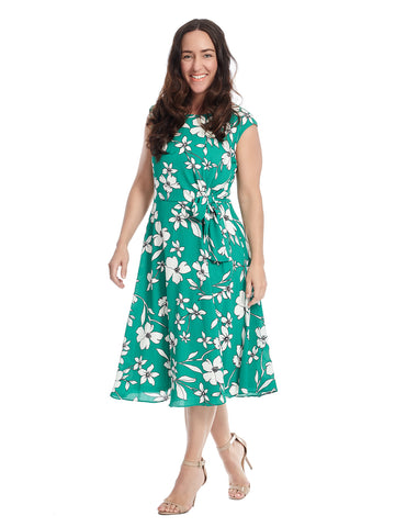 Sleeveless Side Knot Tie Detail Green Floral Print Dress
