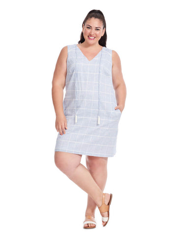 Shift Dress In Light Blue Check