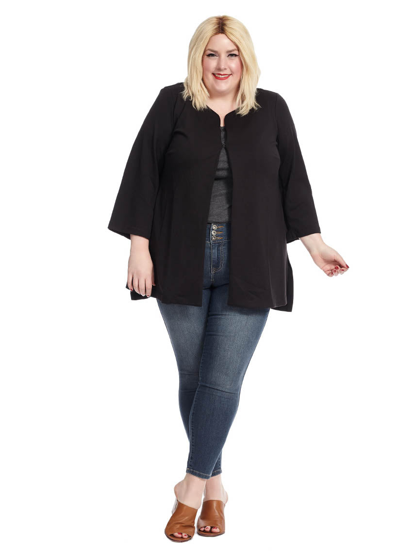 39d41245ce Long Sleeve Collarless Jacket In Black | Joan Vass New York | Gwynnie Bee  Rental Subscription