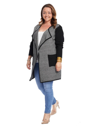 Olympic Gray Open Front Cardigan