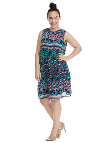 Swing Dress In Mixed Print