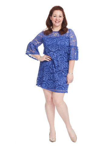 Bell Sleeve Lace Shift Dress