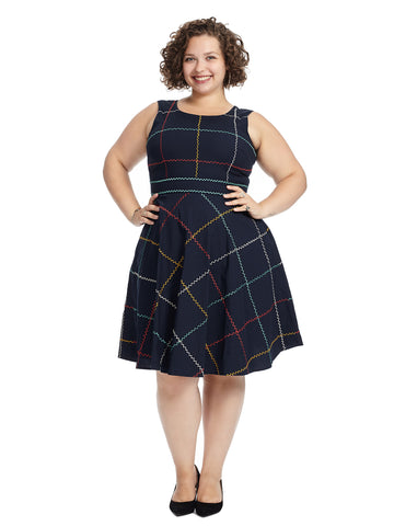 Navy Zig Zag Print Fit And Flare Dress