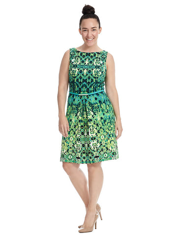 Belted Dress In Mirror Geo Print