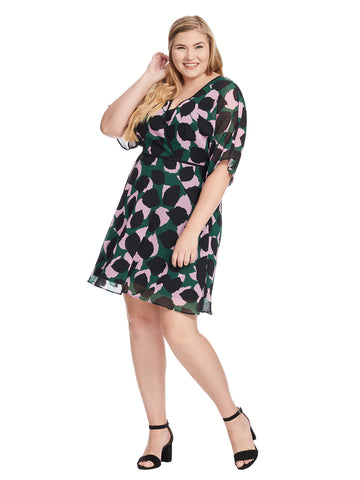 Green Leaf Print Fit And Flare Dress