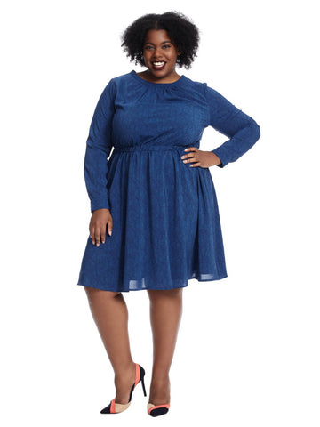 Long Sleeve Fit And Flare Dress In Blue Print