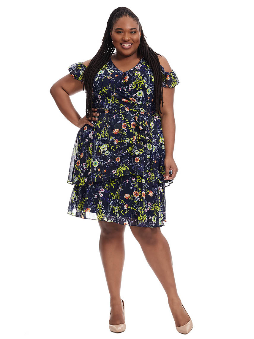 7c31ea4e4b619 Floral Dress With Cold Shoulder Detail | Tahari ASL | Gwynnie Bee ...