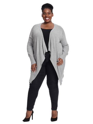 Long Sleeve Draped Cardigan In Grey