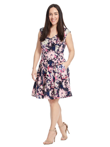 Sleeveless Navy Orchid Fit And Flare Dress
