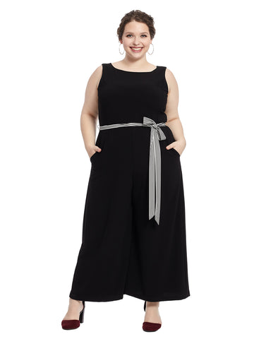 Striped Belt Black Jumpsuit